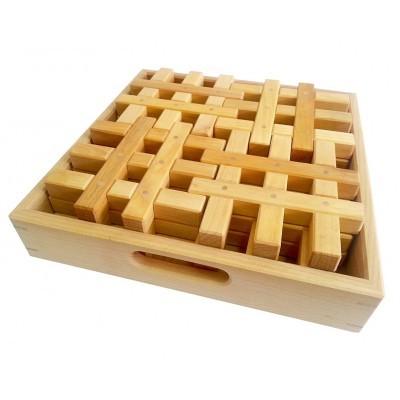 Bauspiel Grid Blocks 12 pcs Natural
