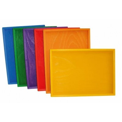 Bauspiel Colored Wooden Trays 6pcs