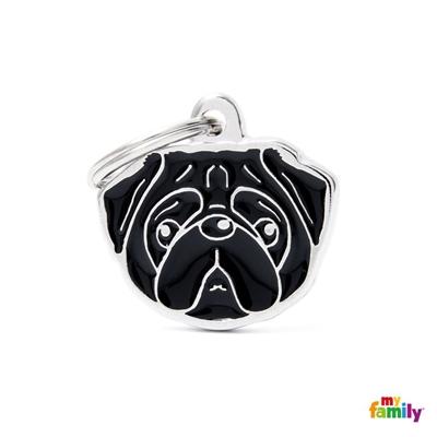 New Black Pug ID Dog Tag