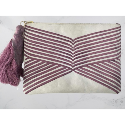 Purple Lines Clutch Bag