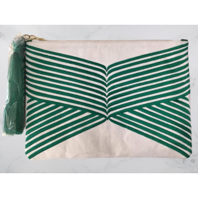 Green Lines Clutch Bag