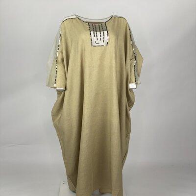 Dark beige linen with tulle shoulder with sequins