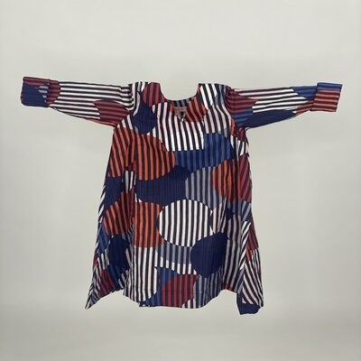 Kids A cut with Sleeves Navy Stripe Circle
