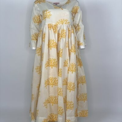 Overlap Dress Yellow Coral