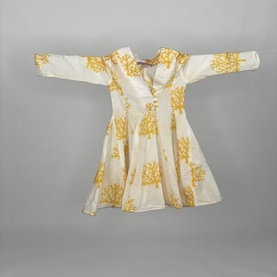 Kids Curly Hem with Sleeves Yellow Coral
