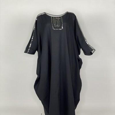 Black linen tulle shoulder with sequins