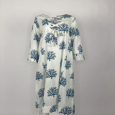 Ribbon Tie Dress Blue Coral