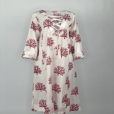 Ribbon Tie Dress Red Coral