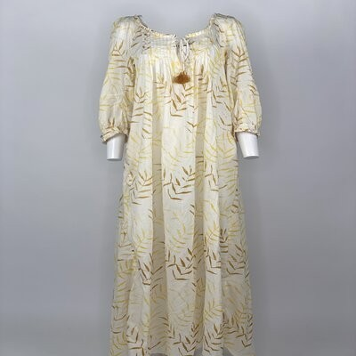 Vintage Prairie Dress Yellow Fern