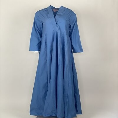 Curly Hem with Sleeves Blue Plain