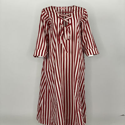 Ribbon Tie Dress Red Stripes