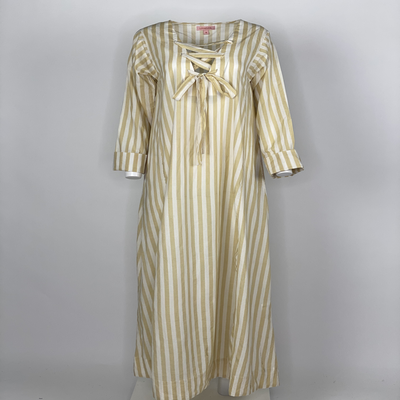 Ribbon Tie Dress Beige Stripes
