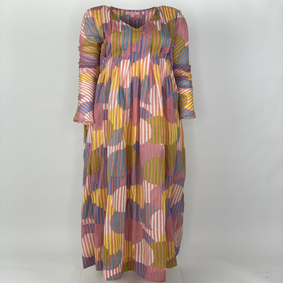 Back Front Pleated Dress Long Sleeve Pink Stripe Circle