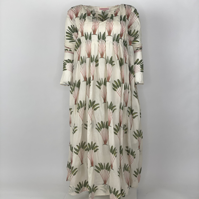 Back Front Pleated Dress Long Sleeve Green Banana