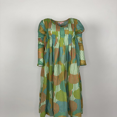 Back Front Pleated Dress Long Sleeve Green Stripe Circle