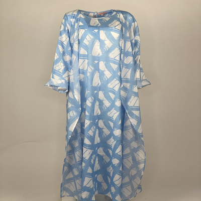 Printed 2 Piece with Sleeves Blue Brush