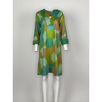 Straight Cut Short with sleeves Green Stripe Circle