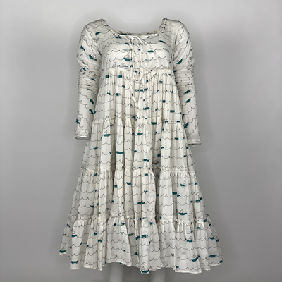 Tier Dress with Sleeves Blue Sailing Boats
