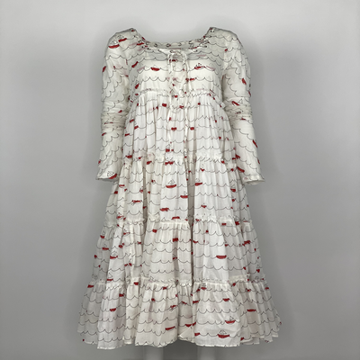 Tier Dress with Sleeves Red Sailing Boats
