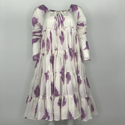 Tier Dress with Sleeves Purple Shell