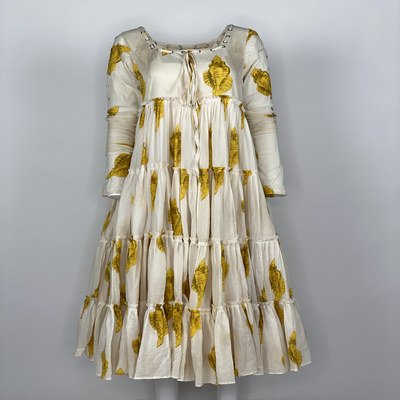 Tier Dress with Sleeves Yellow Shell