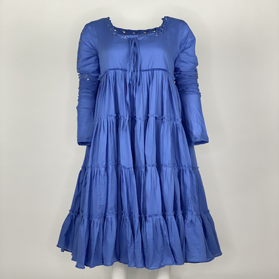 Tier Dress with Sleeves Blue Plain
