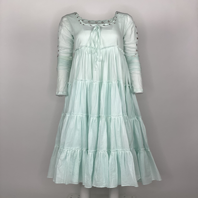 Tier Dress with Sleeves Light Green Plain