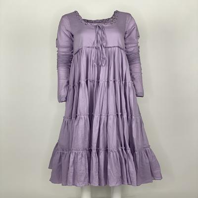 Tier Dress with Sleeves Purple Plain