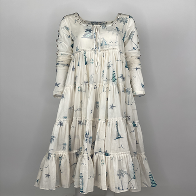 Tier Dress with Sleeves Blue Lighthouse