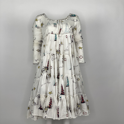 Tier Dress with Sleeves Multicolor Lighthouse