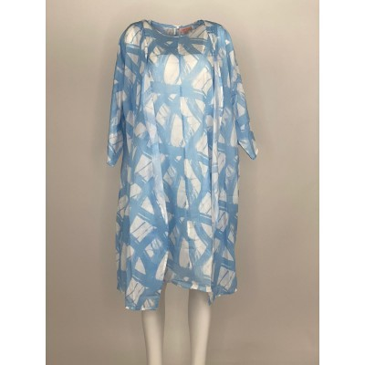 Printed 2 Piece with Sleeves Short Blue Brush
