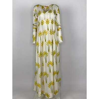 Back Front Pleated Dress Long Sleeve Yellow Banana