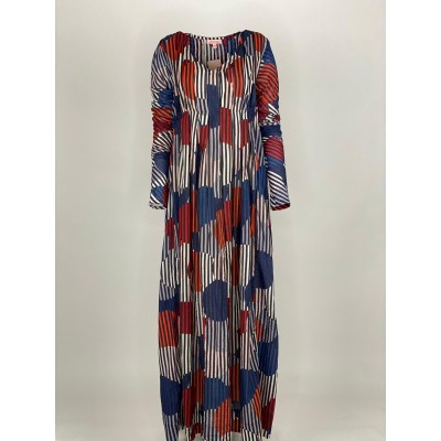 Back Front Pleated Dress Long Sleeve Navy Stripe Circle