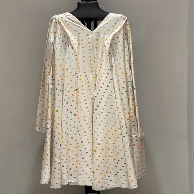 V NECK WITH SLEEVES EARTH SHADES DOTS