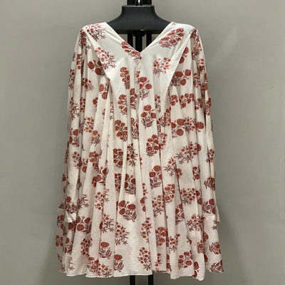 V NECK WITH SLEEVES RED FLOWER