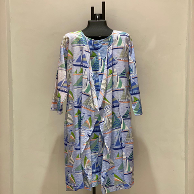 PRINTED 2 PIECE  BLUE BOATS