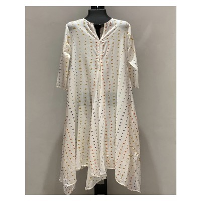 MIDDLE CUT LACE WITH SLEEVES EARTH SHADES DOTS